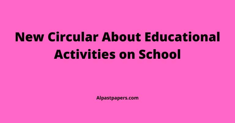New Circular About Educational Activities on School