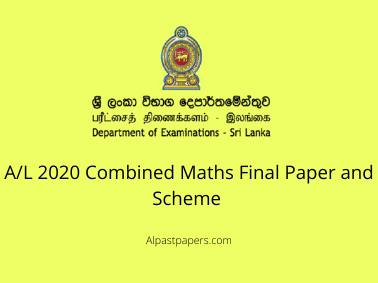 AL 2020 Combined Maths Final Paper and Scheme