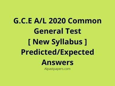 A/L 2020 Common General Test