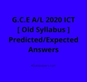GCE-AL-2020-ICT-Old-Syllabus-Predicted-or-Expected-MCQ-Answers