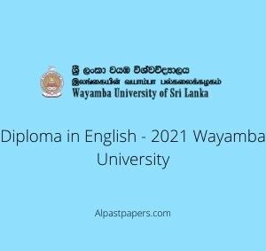Diploma in English - 2021 Wayamba University