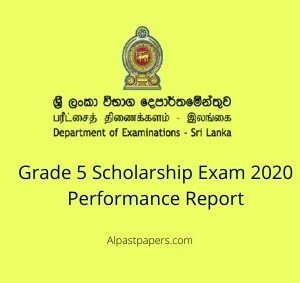 Grade 5 Scholarship Exam 2020 Performance Report