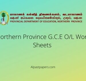 G.C.E O/L 2020 Work Sheets Northern Province
